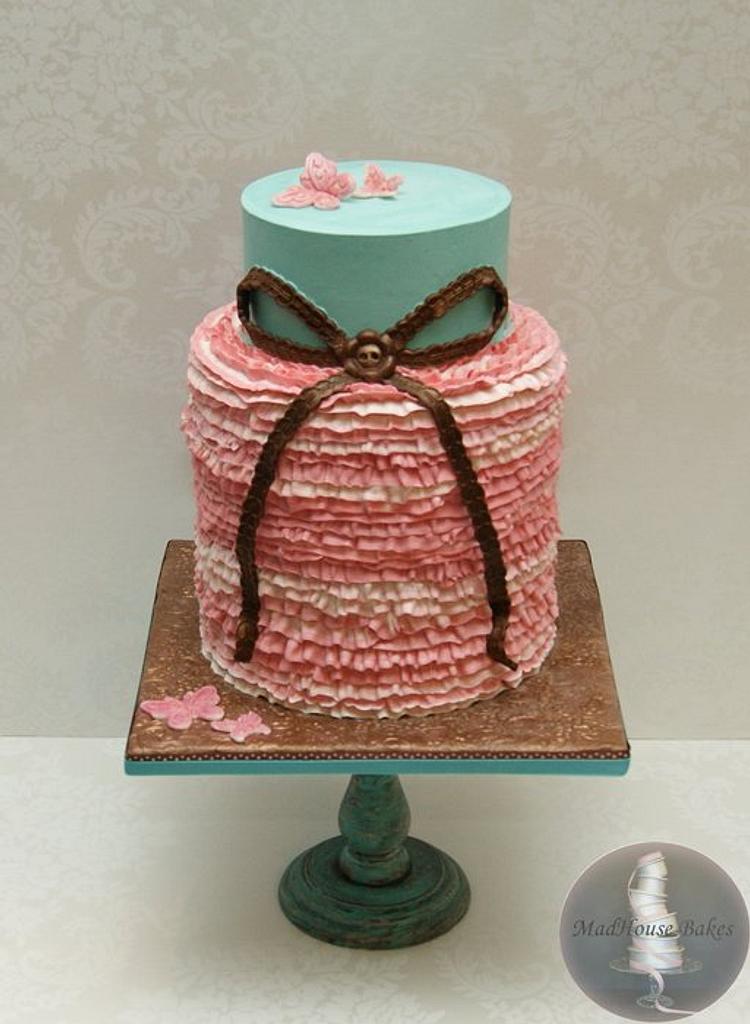 Pink Ruffled Bridal Shower Cake by Tonya Alvey - MadHouse Bakes