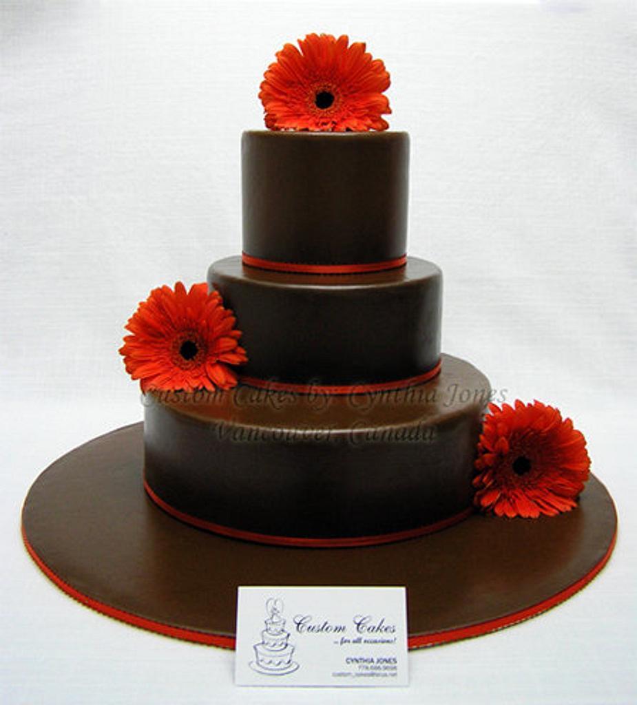 Chocolate wedding cake by Cynthia Jones