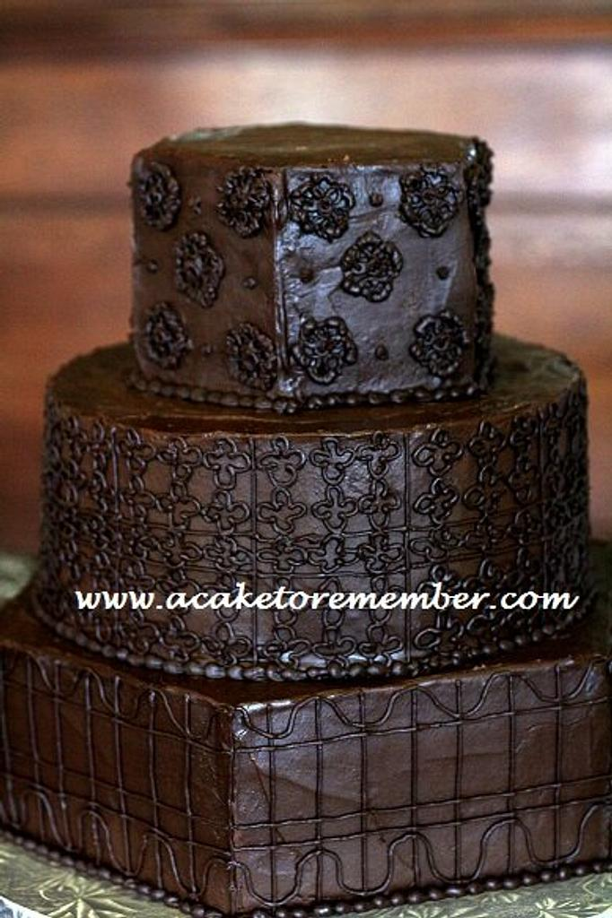 chocolate ganache wedding cake by Kara