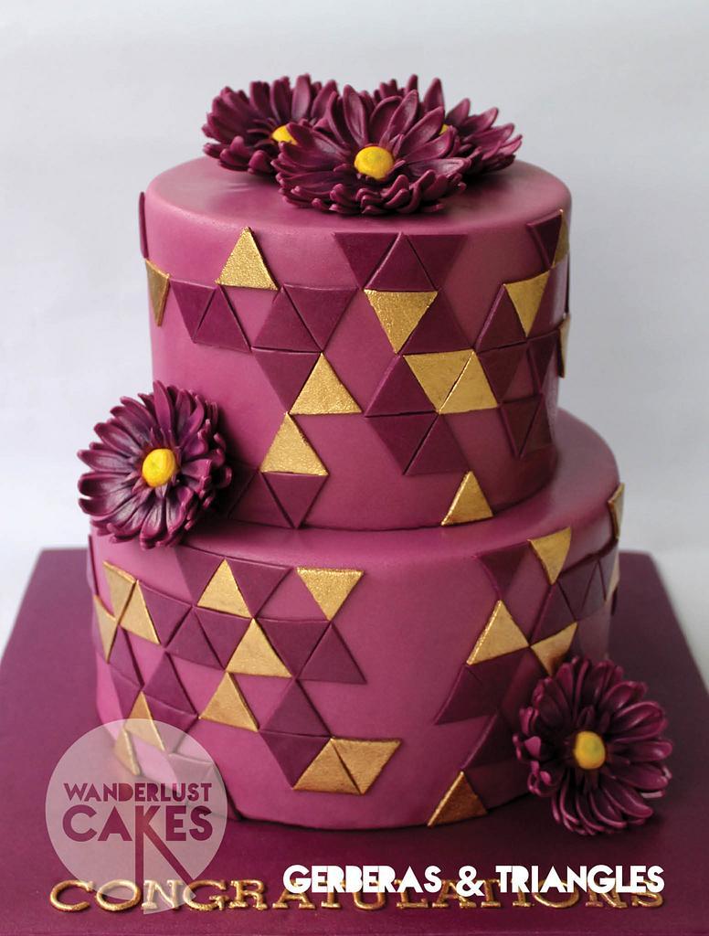 Gerberas & Triangles by Wanderlust Cakes