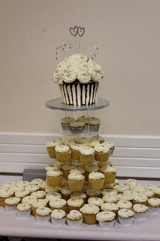 Large Vanilla Cupcake Tower by auntiecake