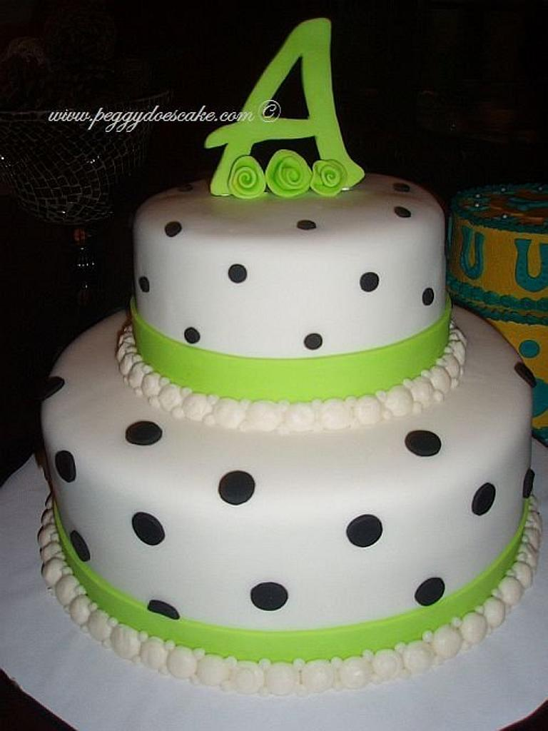 Lime and Black Fondant Polka Dot Cake by Peggy Does Cake