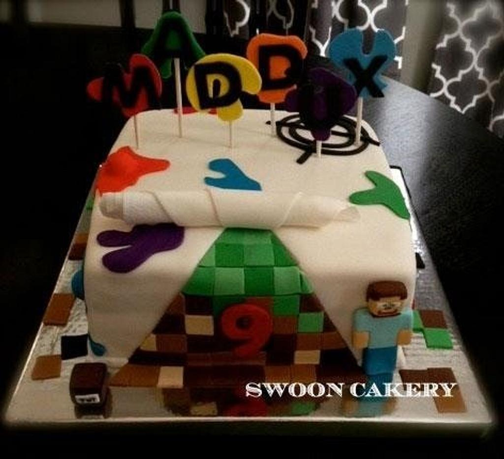 Paintball - Minecraft Party Cake by SwoonCakery