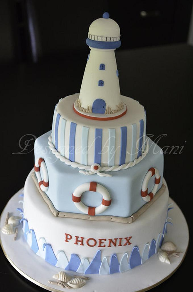 Nautical themed christening cake by designed by mani