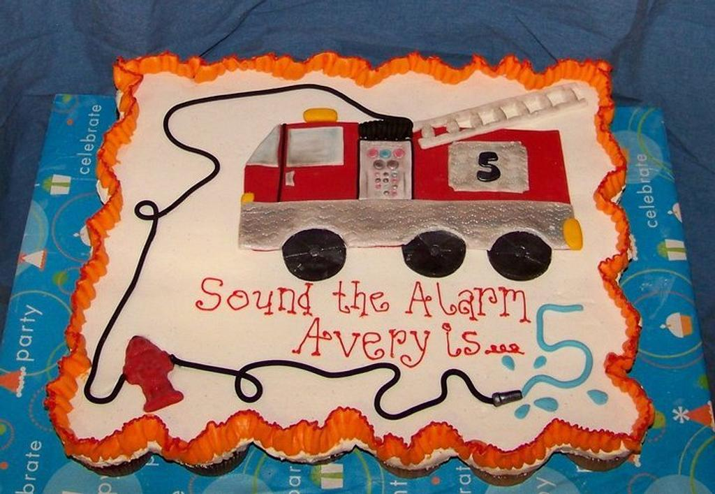 Firetruck Cupcake Cake by cris711