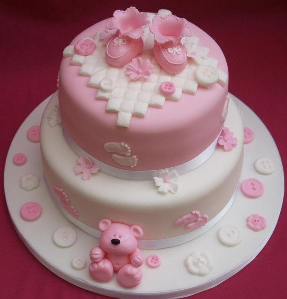 Pretty Pink baby Shower cake by Sandra's cakes