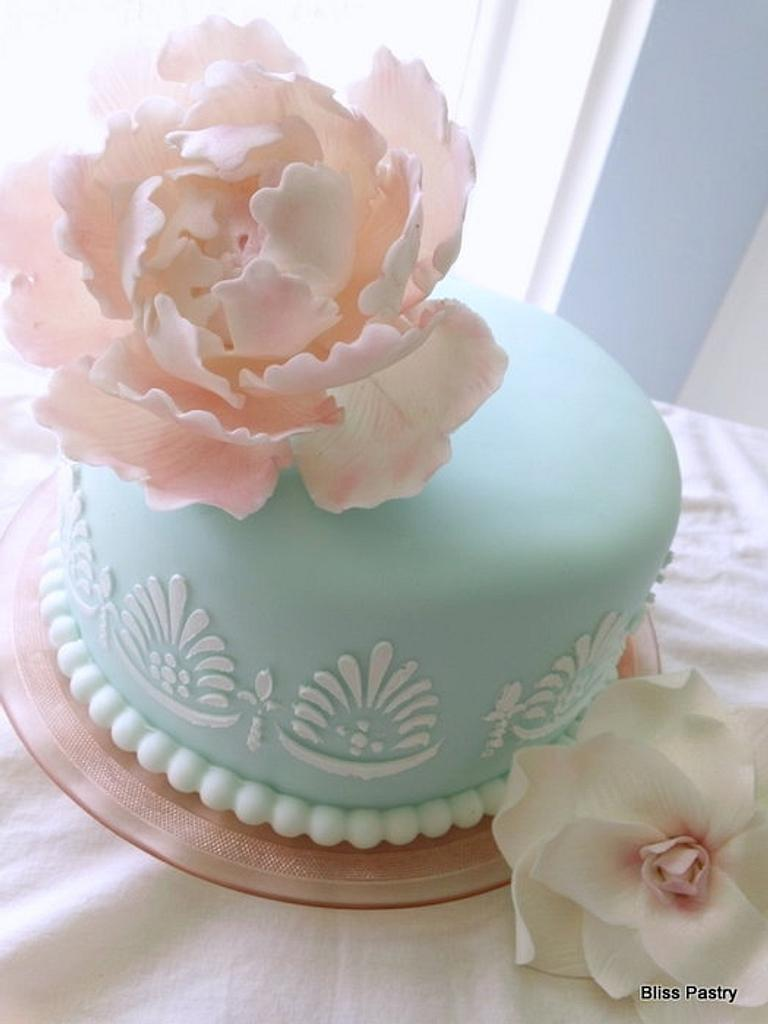 Dreamy Blue With Peony by Bliss Pastry
