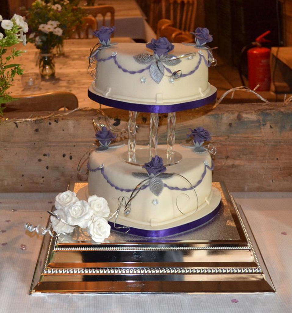 2 Tiered Heart Wedding Cake by Alli Dockree