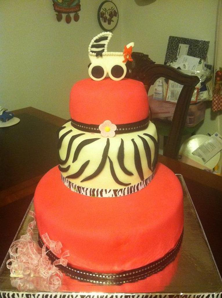 hot pink and and zebra babyshower cake by claribely trinidad