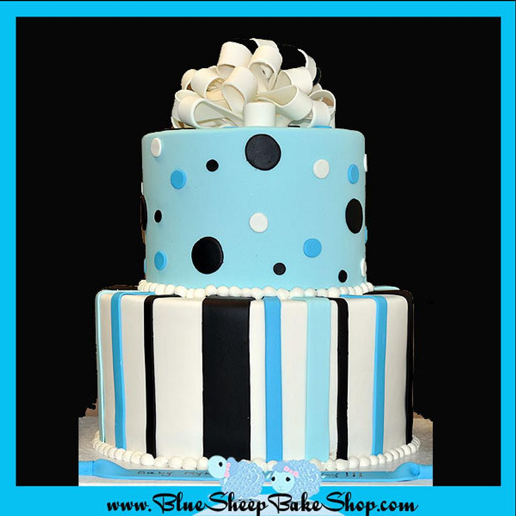 Brown and Blue Baby Shower Cake by Karin Giamella