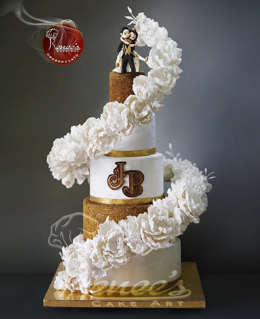Floating Flower Wedding Cake By Purbaja B Chakraborty  by Purbaja B Chakraborty
