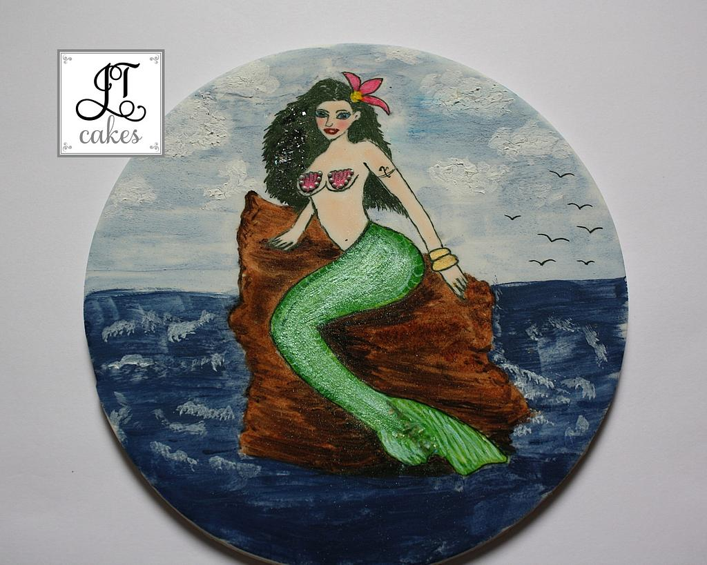 Hand Painted Mermaid Cake Topper by JT Cakes