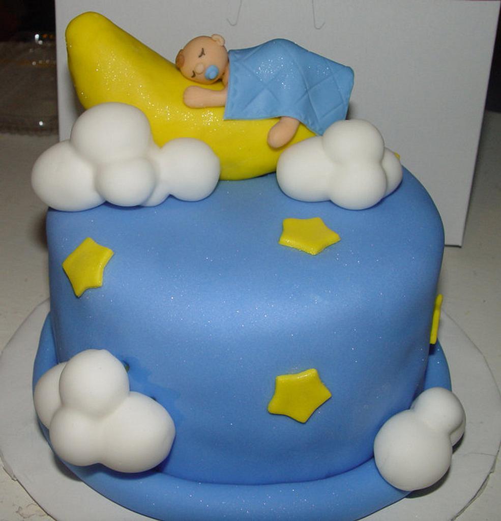 Moon & Stars Baby Shower Cake by Jeana Byrd
