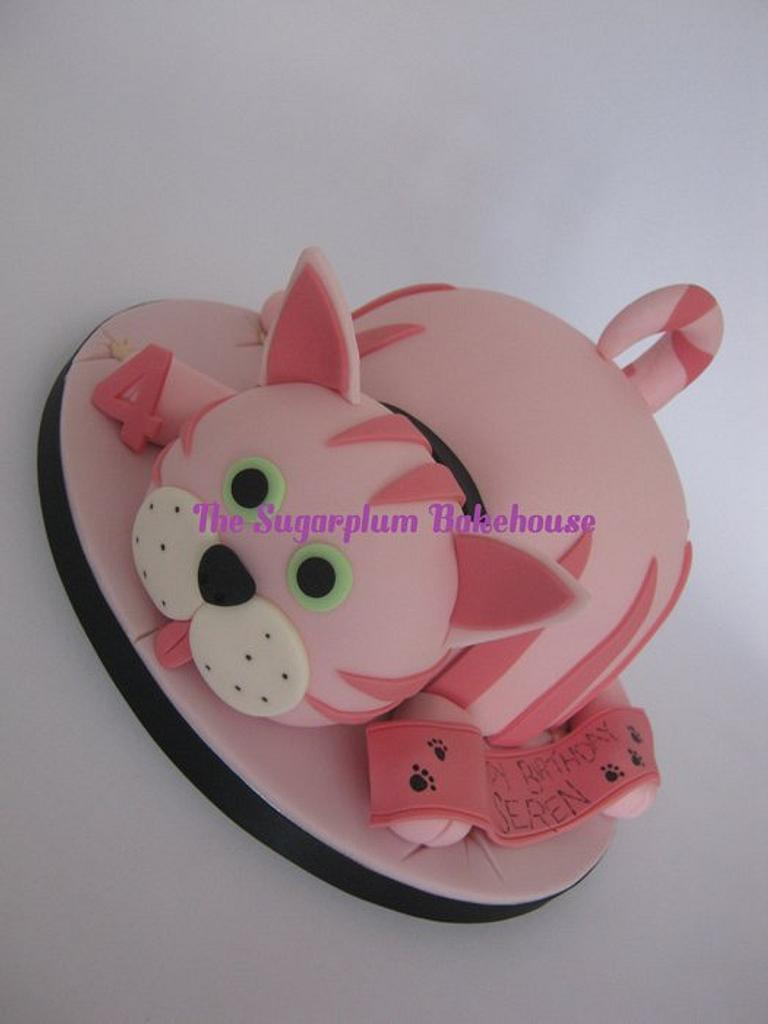 Simple Pink Cat Cake by Sam Harrison