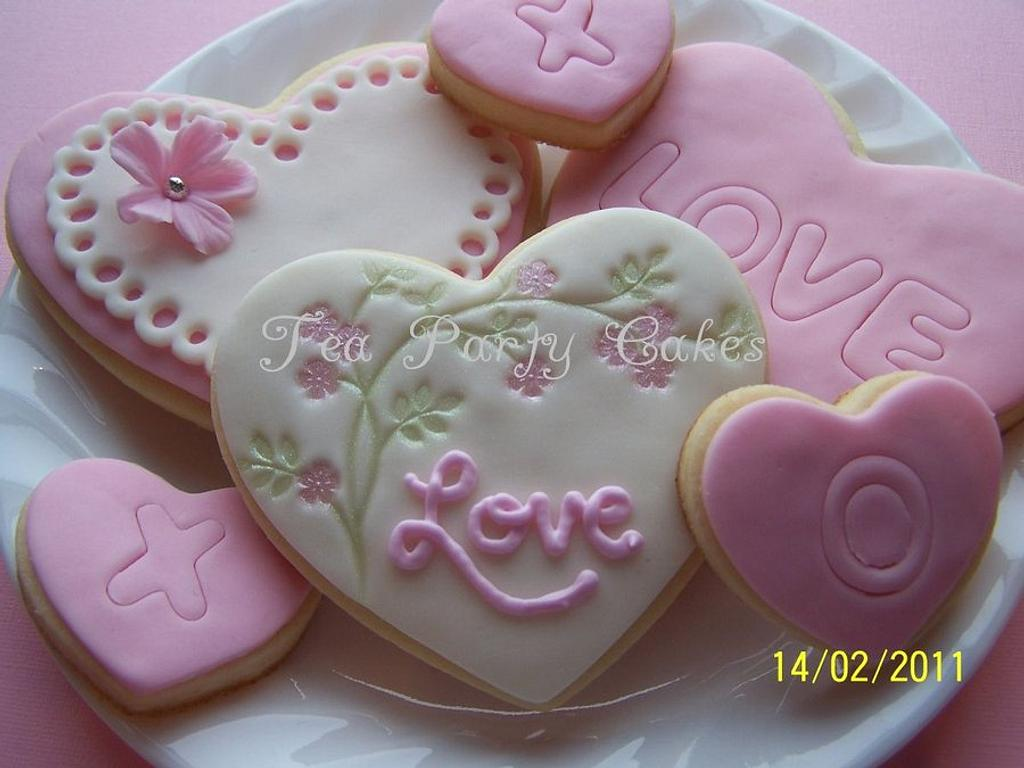 Valentine's Cookies by Tea Party Cakes