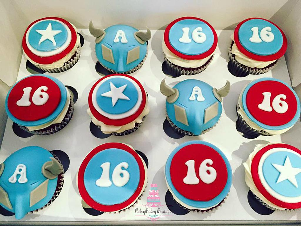 Captain America Cupcakes by CakeyBakey Boutique