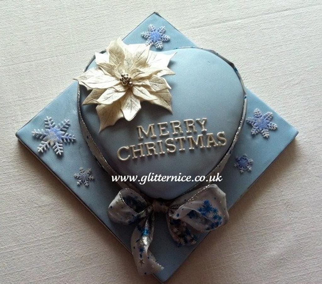 Blue Heart Christmas Cake by Alli Dockree