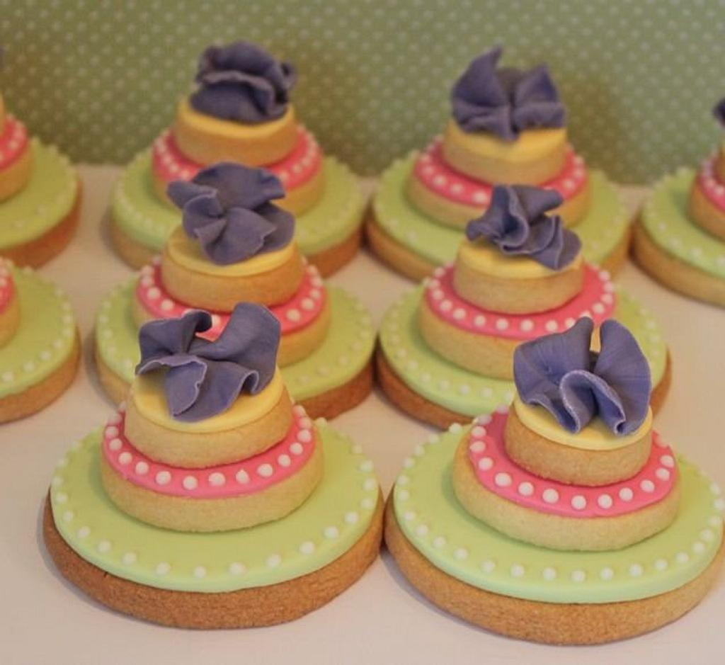 Trio of 'ruffle flower' cookies by Alison Lawson Cakes