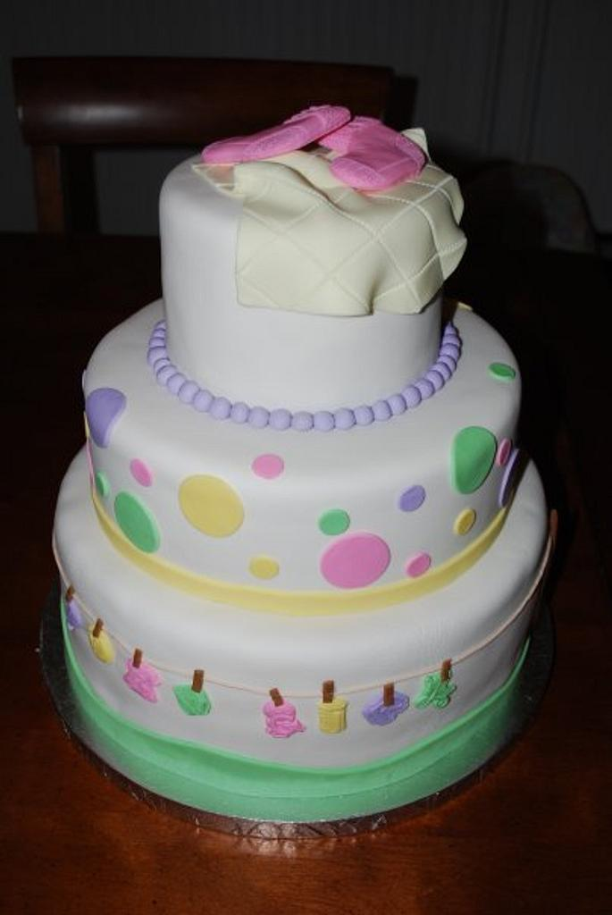 Clothesline Baby Shower Cake by Karen