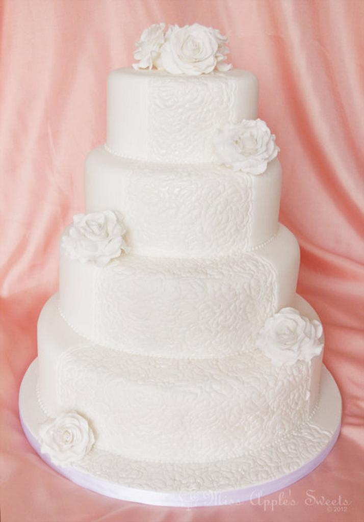 All White Wedding Cake by Karen Dourado