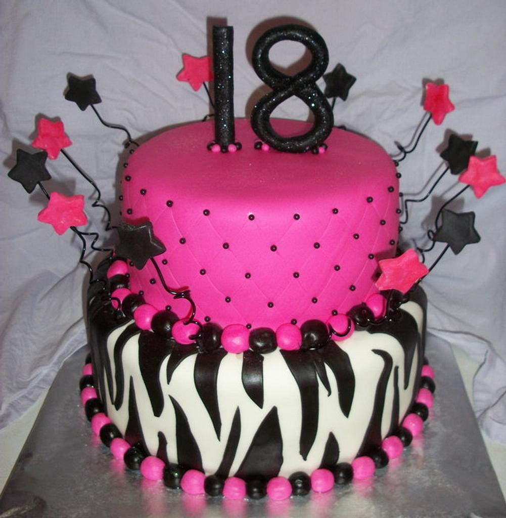 Zebra and Hot Pink by Tracy's Custom Cakery LLC