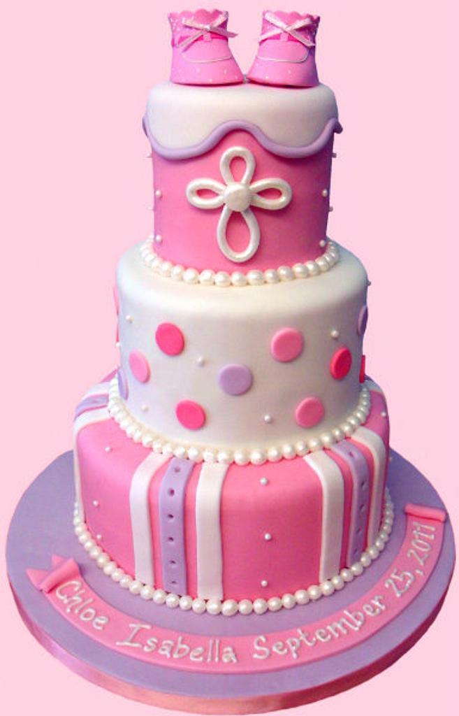 Chloe's Christening Cake by Jennifer