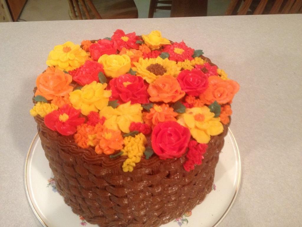 Autumn Flower Basket by Cakebuddies