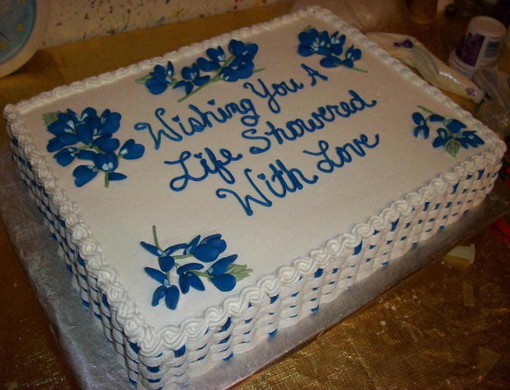 Texas Bluebonnet Bridal Shower Cake by Tracy's Custom Cakery LLC