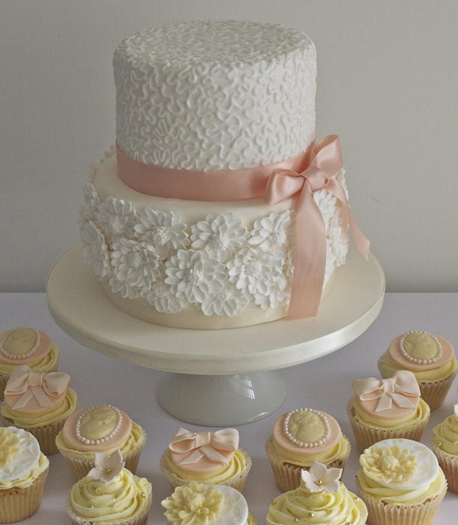 Peach and White Chocolate Wedding Cake and Cupcakes  by Sugar Ruffles