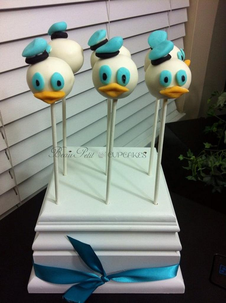 Donald Duck Cake Pops by Beau Petit Cupcakes (Candace Chand)
