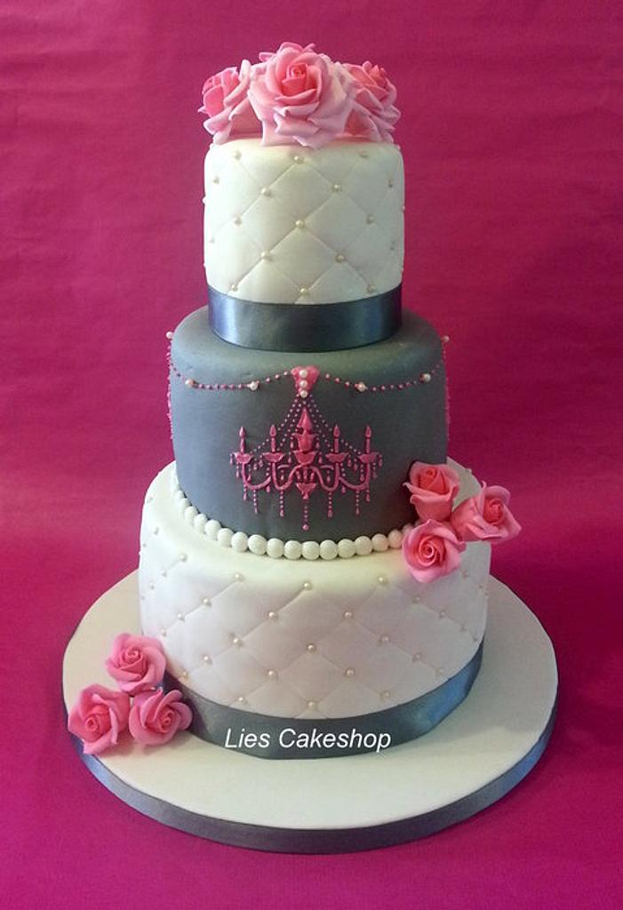 Pink and Grey Wedding Cake by Lies