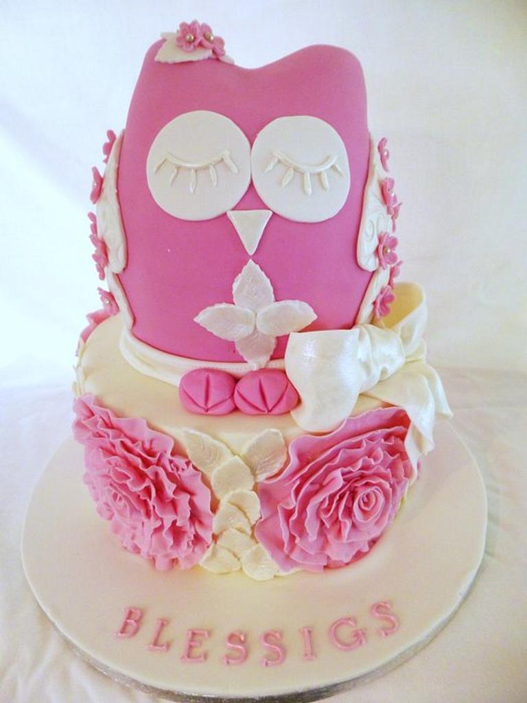 First Communion Owl cake by Gulnaz Mitchell