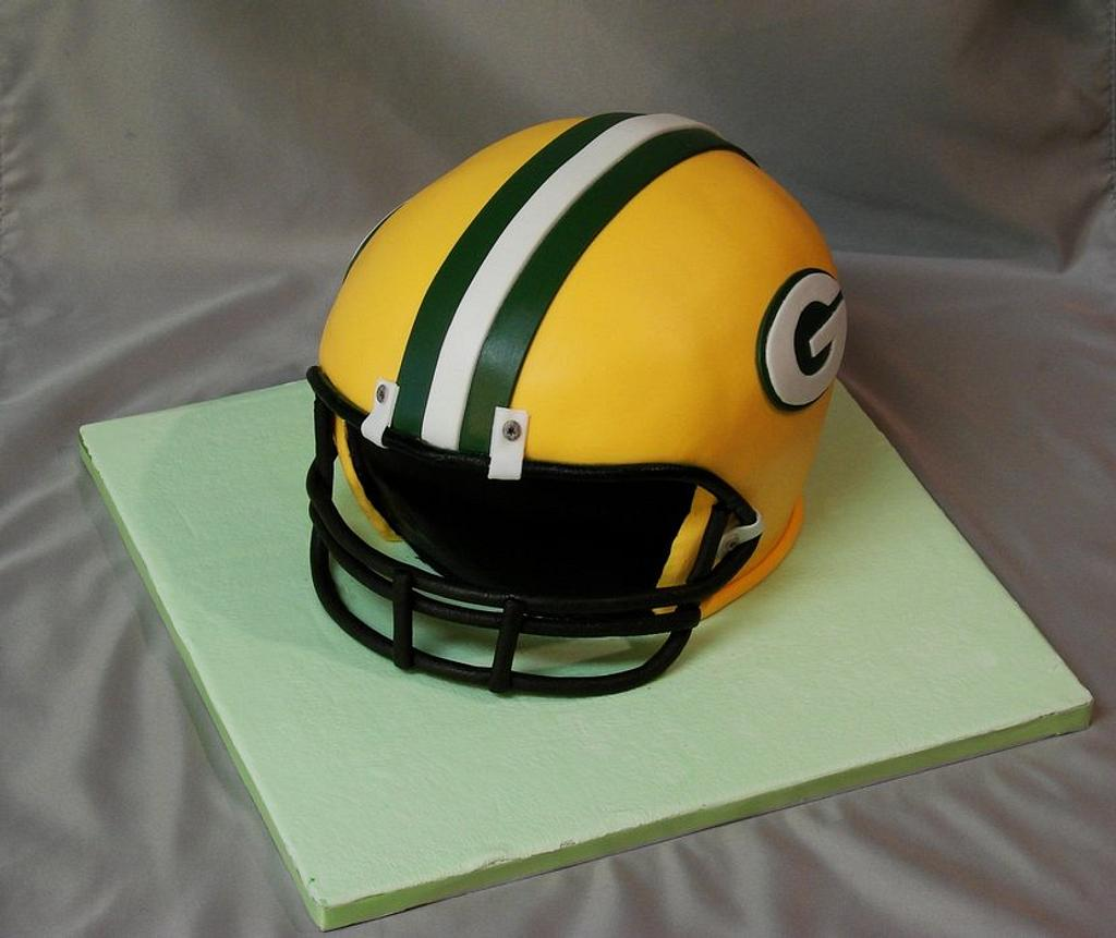 Green Bay Packers football helmet cake by The Cake Life