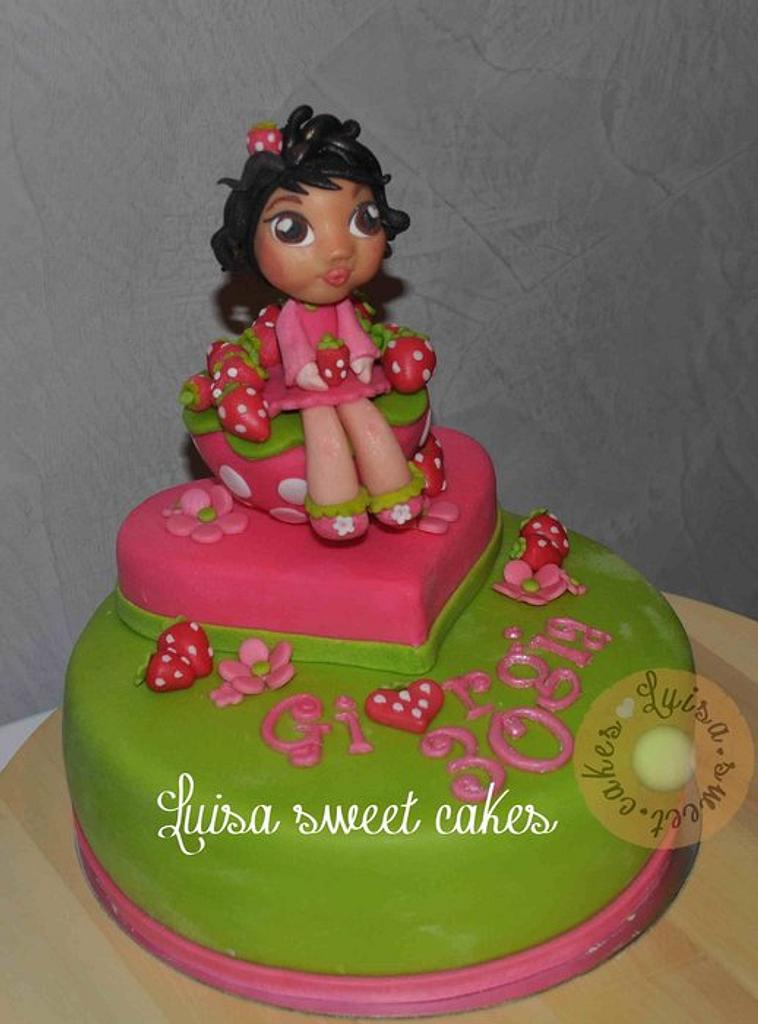 Strawberry girl's cake by luisasweetcakes