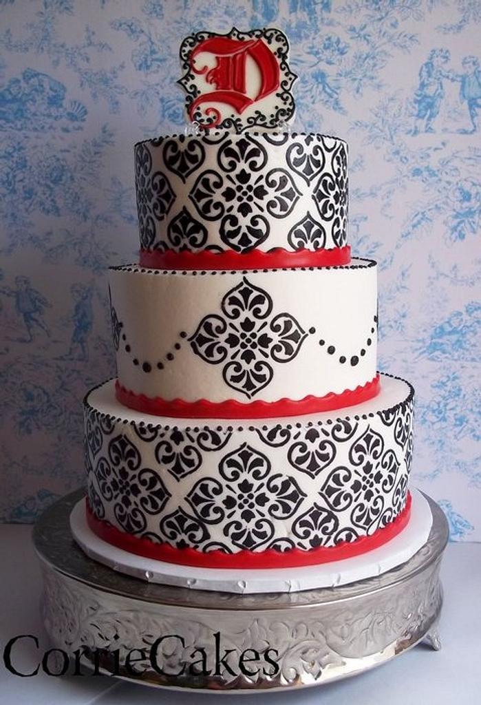 Black, white and red damask by Corrie