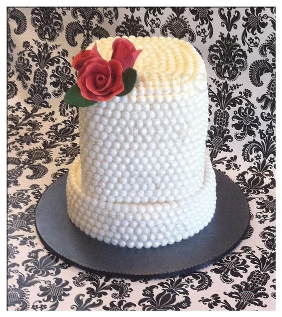 pearlized bday cake by couturecakesbyrose