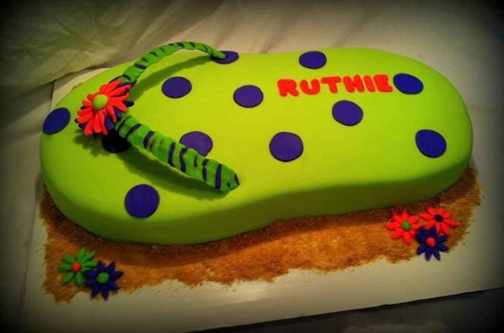 Giant Flip Flop Cake by Angel Rushing