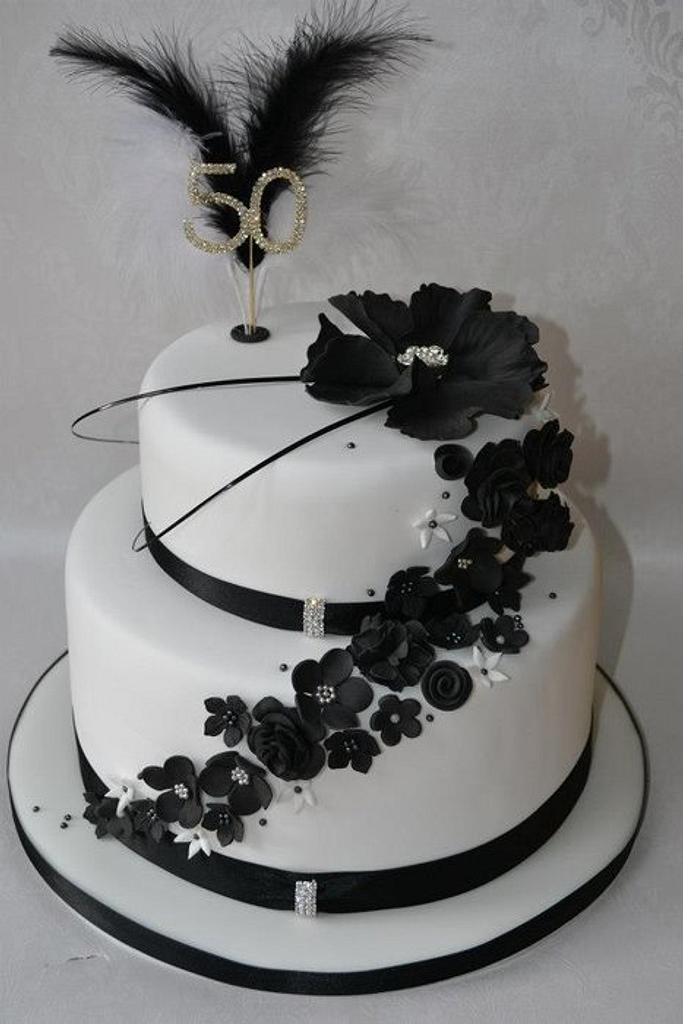 50th birthday black and white tiered cake by AMAE - The Cake Boutique