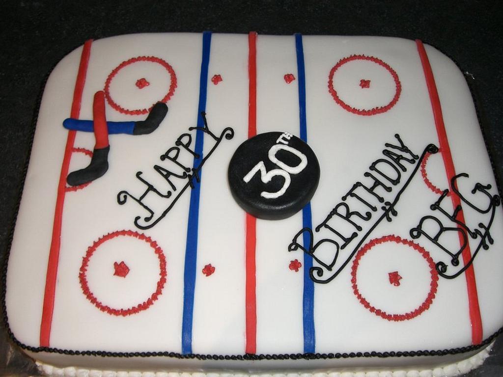 Hockey Rink Birthday Cake by Amanda