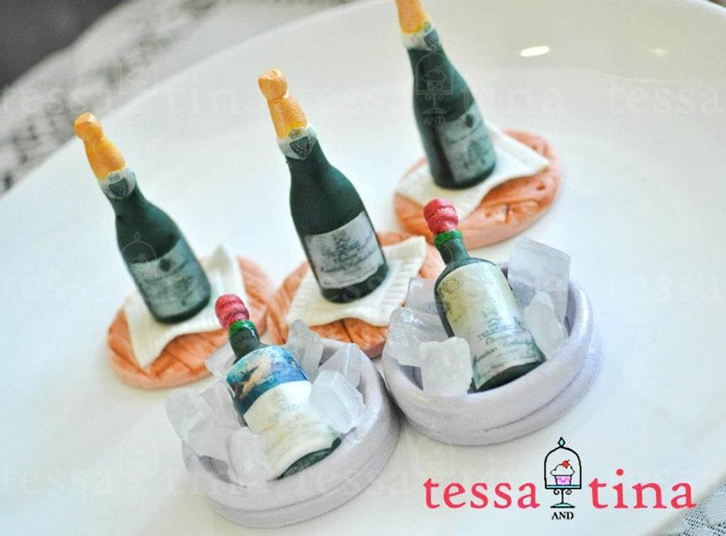 Wine Bottle cupcake toppers by tessatinacakes