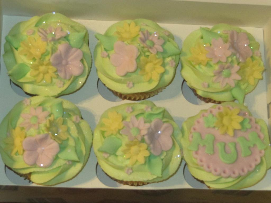 mum cupcakes in spring colours  by d and k creative cakes