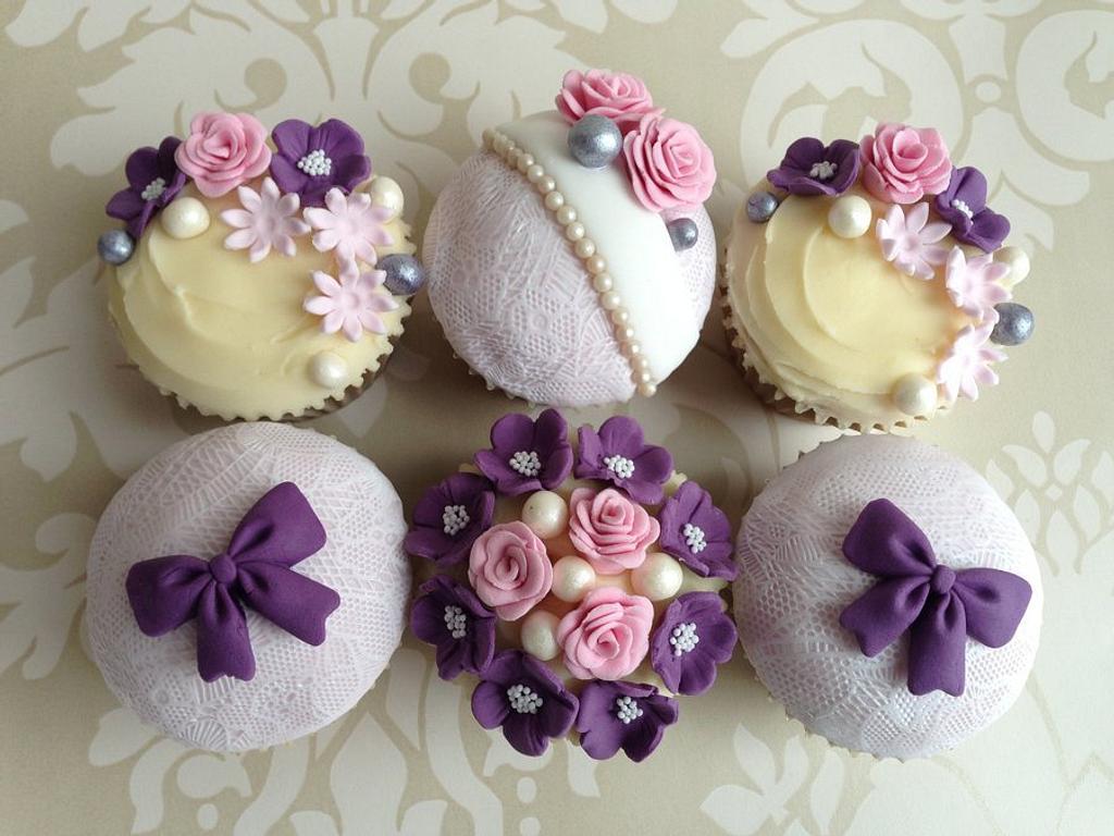 Elegant pink & purple cupcakes by Sugar Sweet Cakes