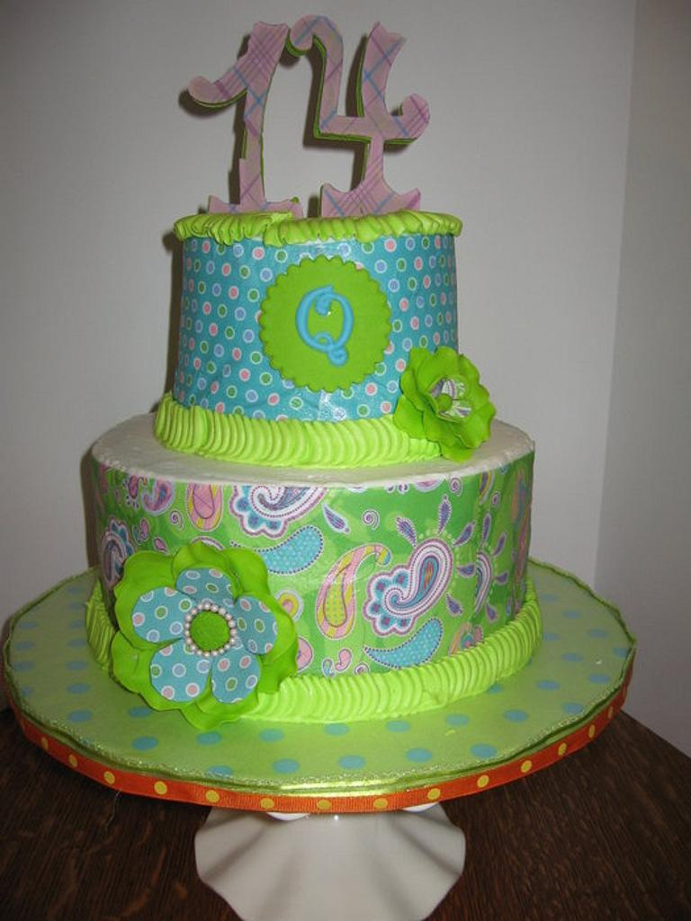 Blue, lime green and orange cake for my granddaughter by all4show