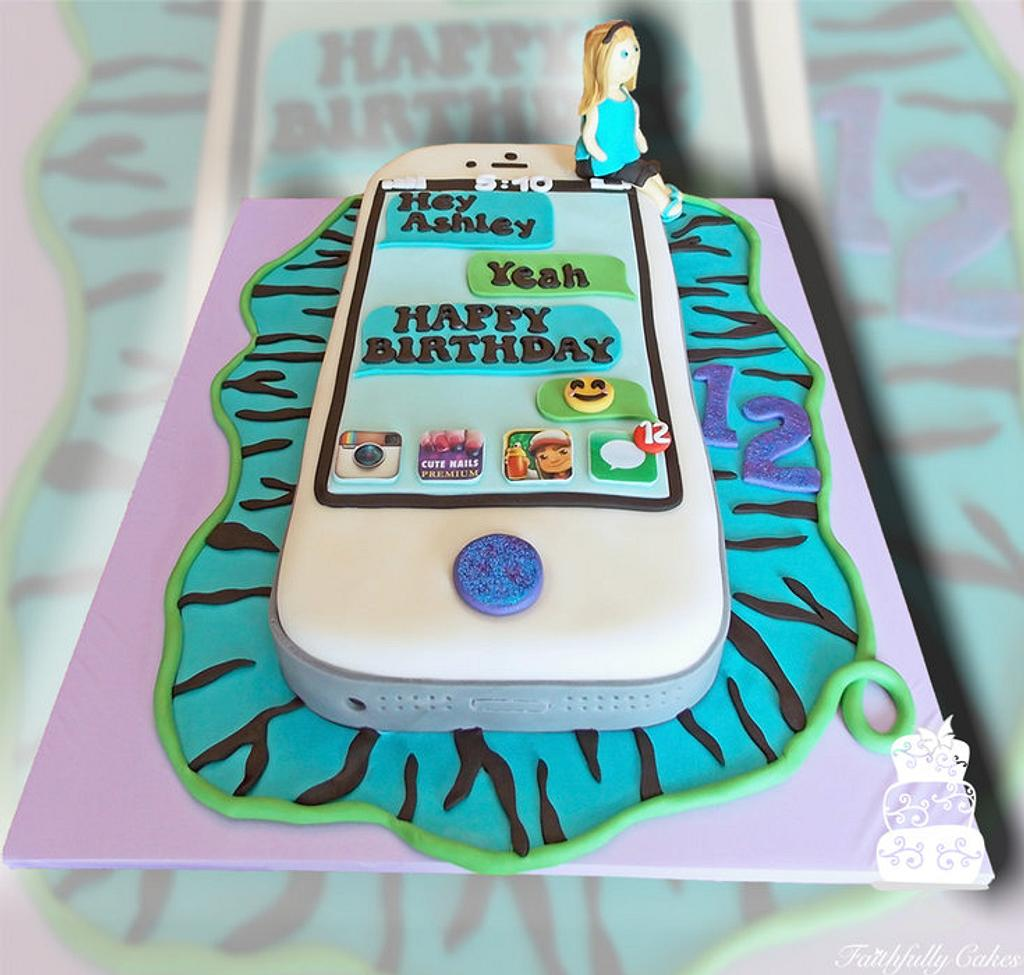 iPhone 5 12th birthday cake by FaithfullyCakes