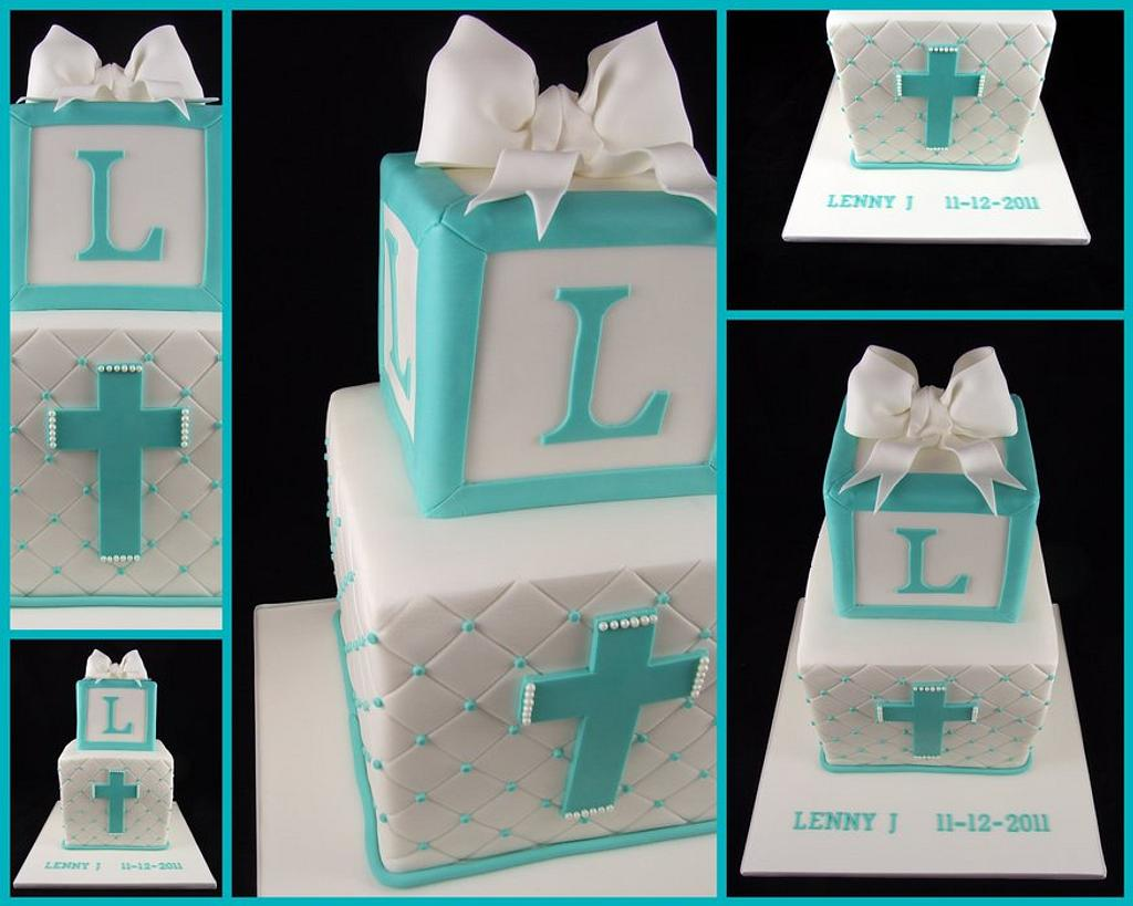 Tiffany Blue Christening Cake by Lisa-Jane Fudge