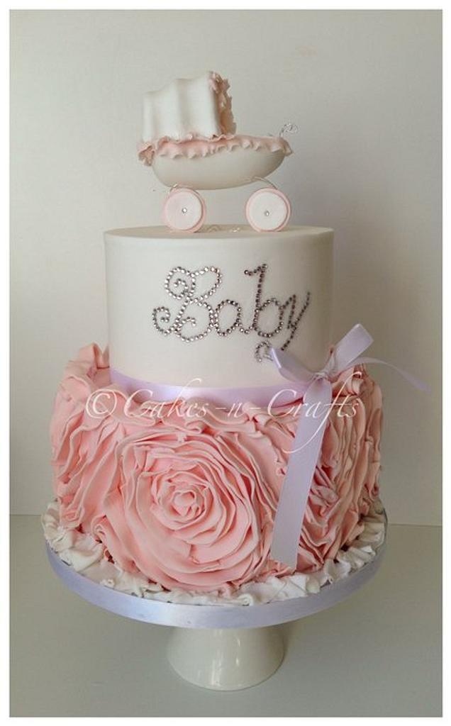 Peach ruffle rose Swarovski crystal baby cake by June milne