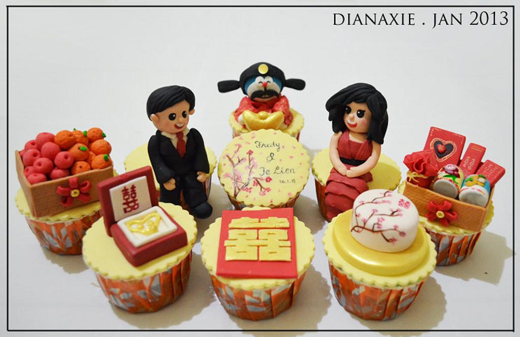 Chinese Engagement Cupcakes by Diana