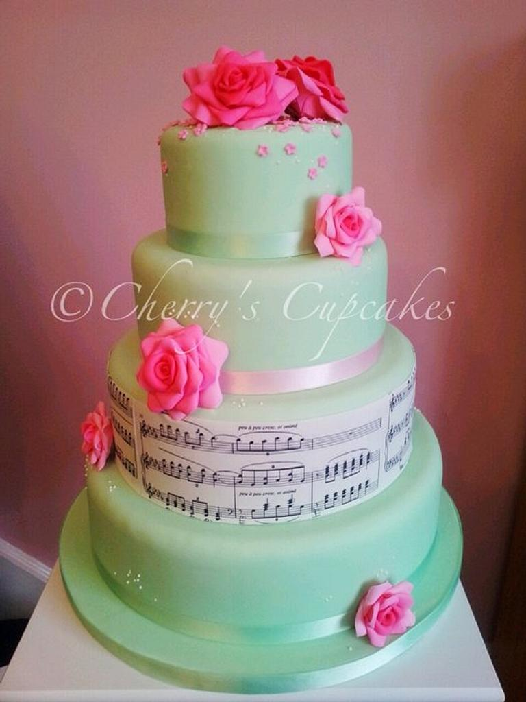 Music Score Wedding Cake by Cherry's Cupcakes