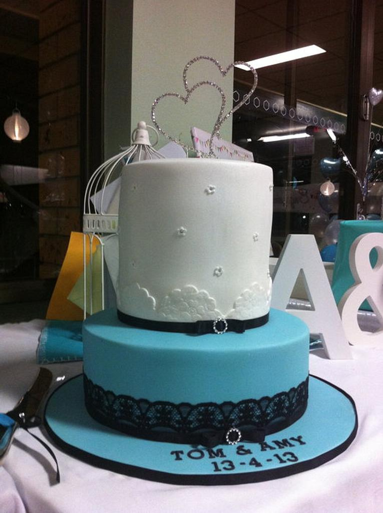 Tiffany inspired Engagement cake by Madd for Cake