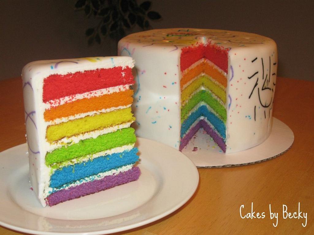 Rainbow Doodle Birthday Cake by Becky Pendergraft